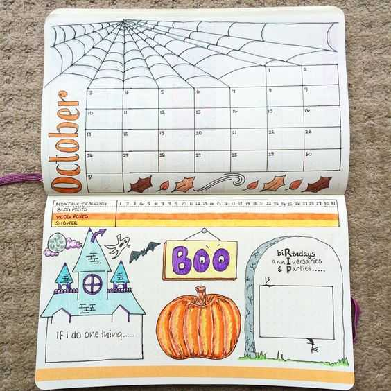 october bullet journal month view