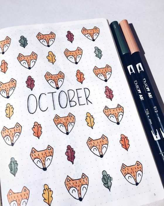 october bullet journal title page