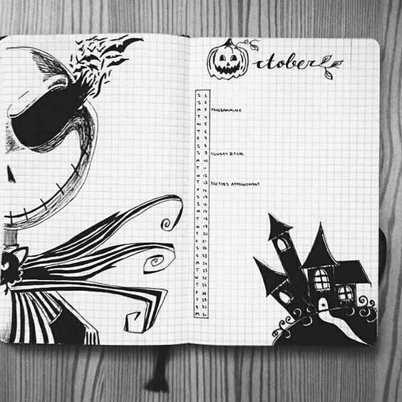 bullet journal ideas october