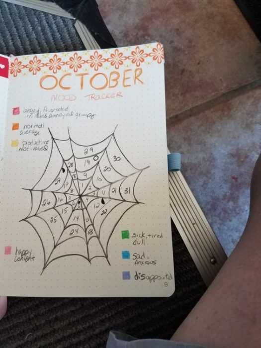 october bullet journal month view as spider web