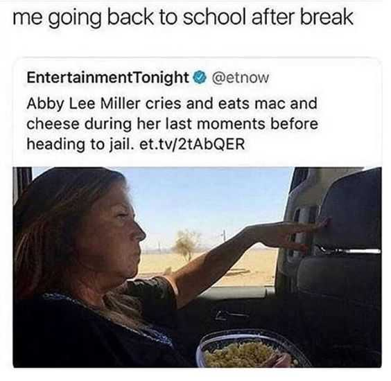 back to school teacher memes showing a criminal eating her last meal before jail