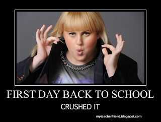 meme labeled first day back to school... crushed it.