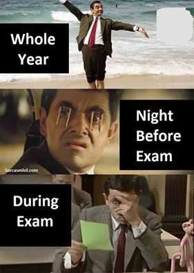 3 mr. bean pictures depicting whole year, night before exam and during exam in funny student meme