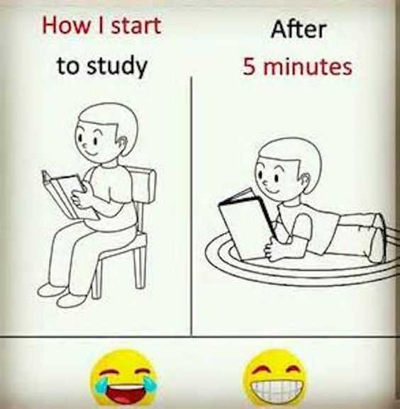 picture of child reading on a chair next to a child reading while lying prone on a carpet captioned how i start to study and then after 5 minutes