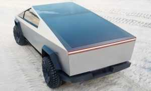 tesla cybertruck with integrated solar panel on retractable flatbed cover