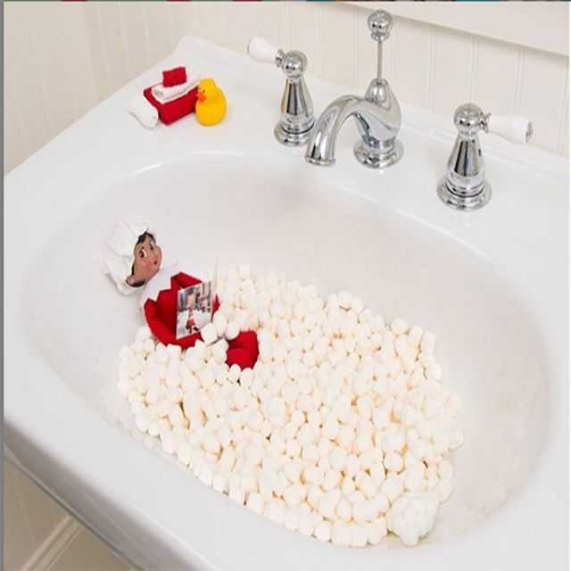 clever elf on the shelf - bubble bath marshmallows