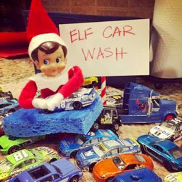 clever elf on the shelf ideas - elf car wash