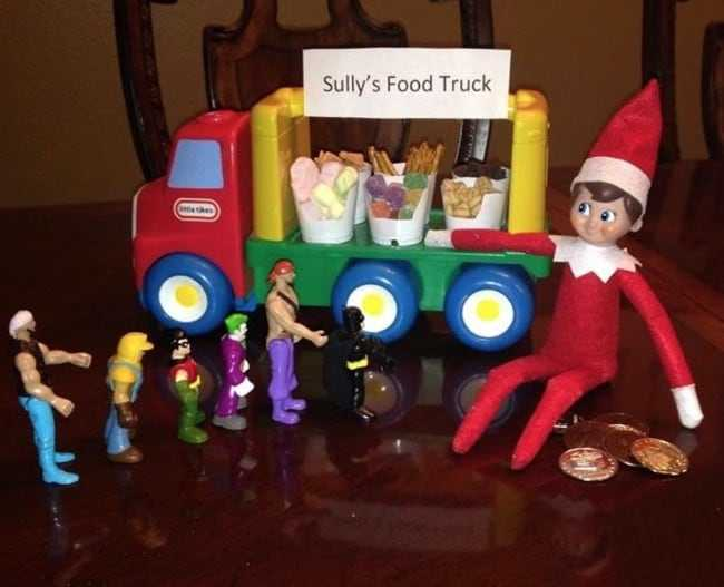 clever elf on the shelf ideas - food truck