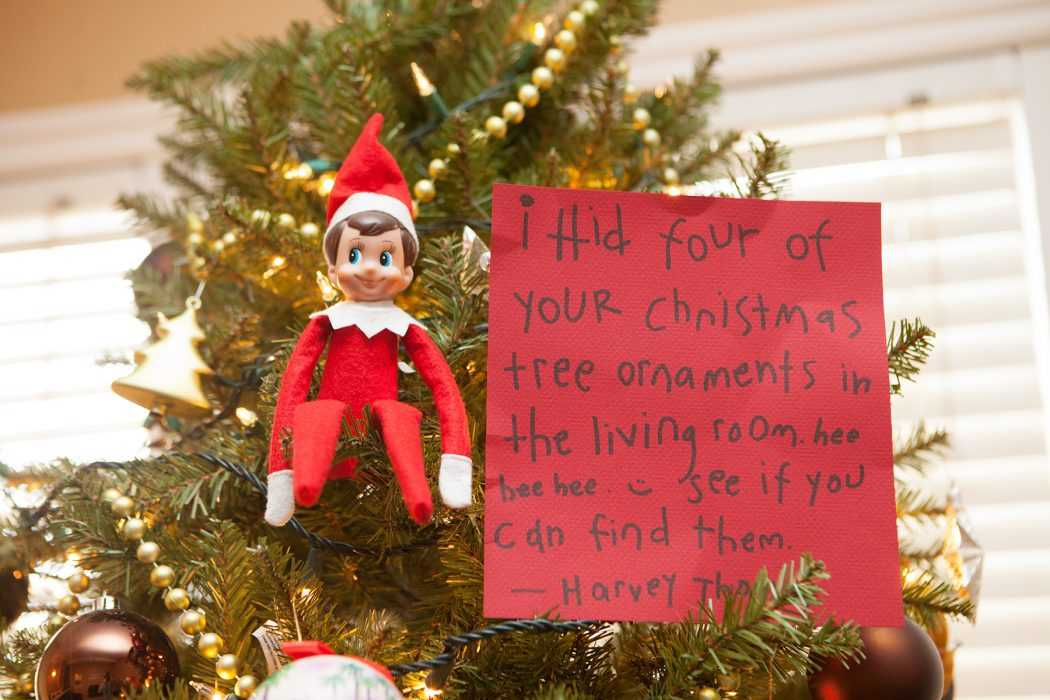 clever elf on the shelf ideas - stolen ornaments