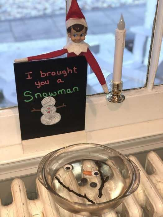 clever elf on the shelf ideas - melted snowman
