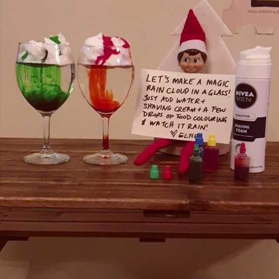 clever elf on the shelf ideas - magic rain shaving cream and food colouring