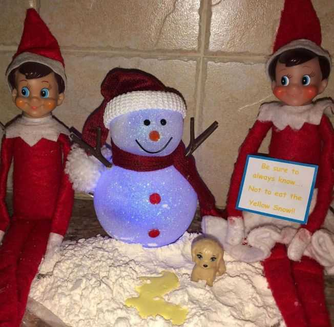 clever elf on the shelf ideas - yellow snow