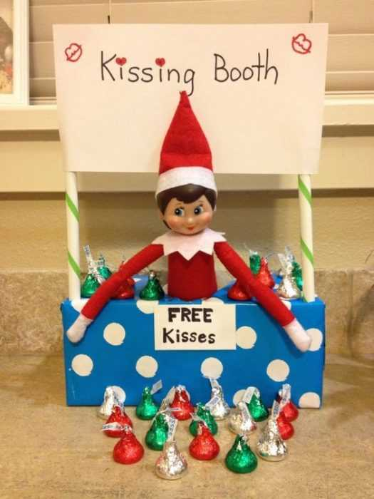 clever elf on the shelf ideas - kissing booth