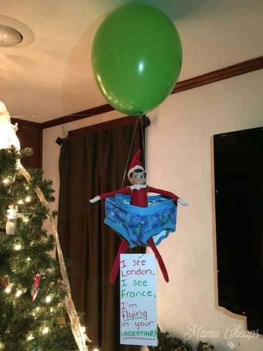 clever elf on the shelf ideas - underwear hot air balloon