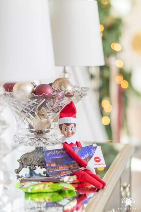 clever elf on the shelf ideas - golden ticket