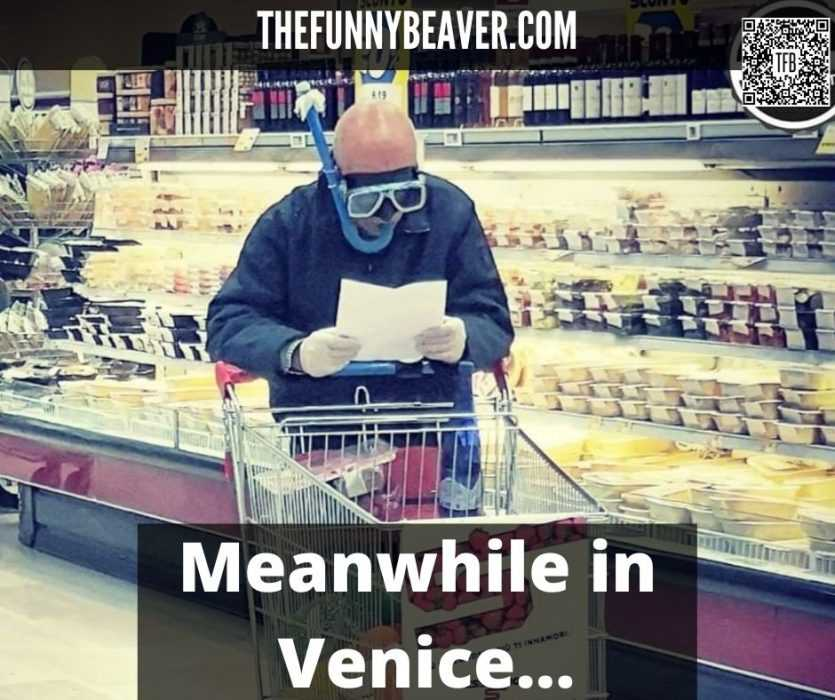 Man Wearing Snorkel And Mask While Shopping For Corona Beer In Venice