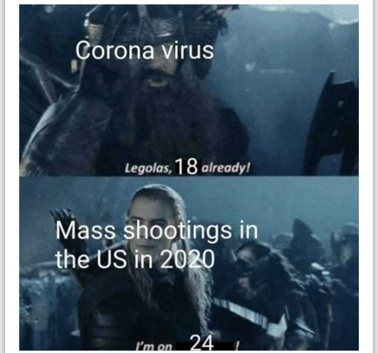 funny corona memes - virus vs mass shootings