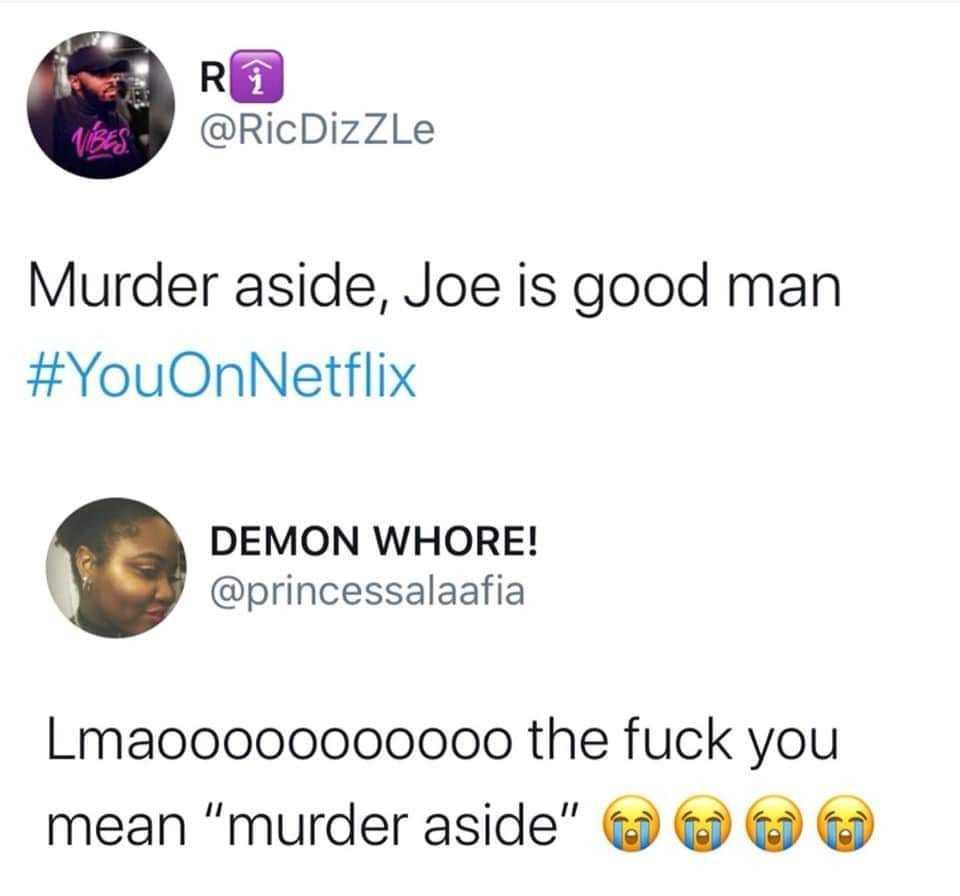 joe goldberg memes - murder aside you meme