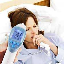 sick patient having their temperature measured
