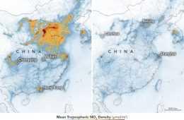 Nasa Image Of Nitrogen Dioxide Levels Over China Between Jan 2020 And Feb 2020