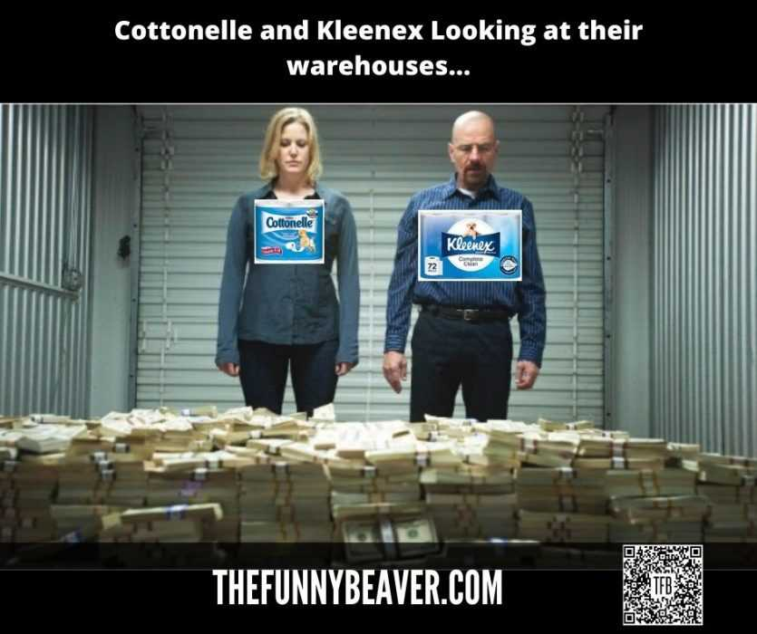 Funny Making Money From Crisis Memes - Cottonelle And Kleenex Cashing In