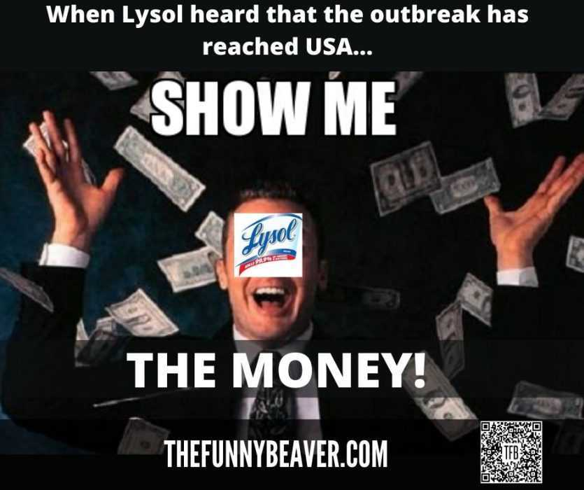 Funny Making Money From Crisis Memes - Lysol Showing Money