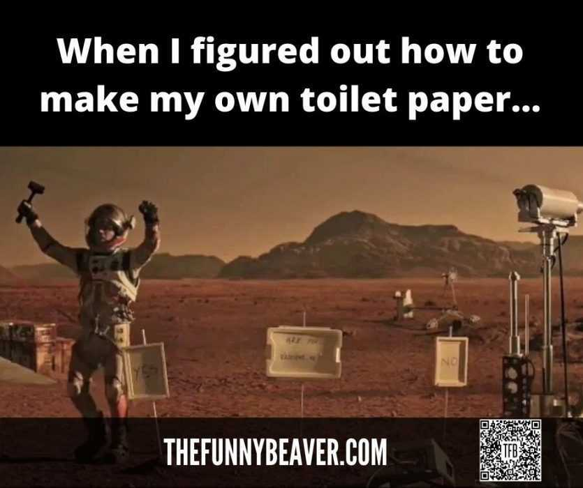 Lockdown memes - celebrating independence after figuring out how to make toilet paper