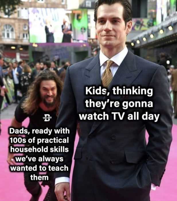 homeschooling memes - meme about kids who expect to watch tv all day during home school...like aquaman about to tackle superman