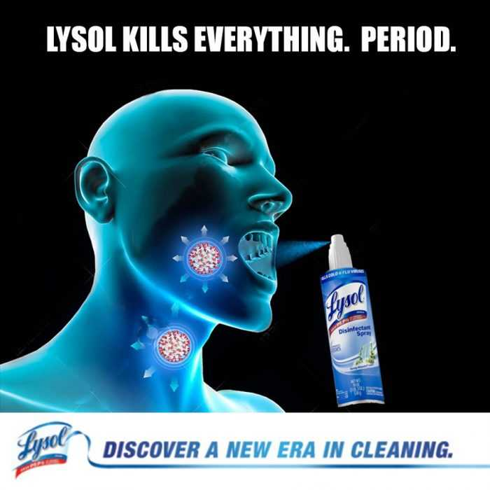 Lysol Memes Bleach Memes and Disinfectant Memes - meme of lysol in mouth spray form for use to kill coronavirus in throat