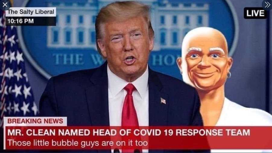 Lysol Memes Bleach Memes and Disinfectant Memes - meme of trump naming mister clean as head of covid 19 response team
