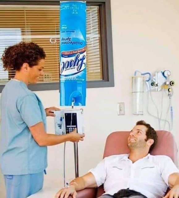 Lysol Memes Bleach Memes and Disinfectant Memes - meme of a man smiling at nurse while receiving a lysol IV drip