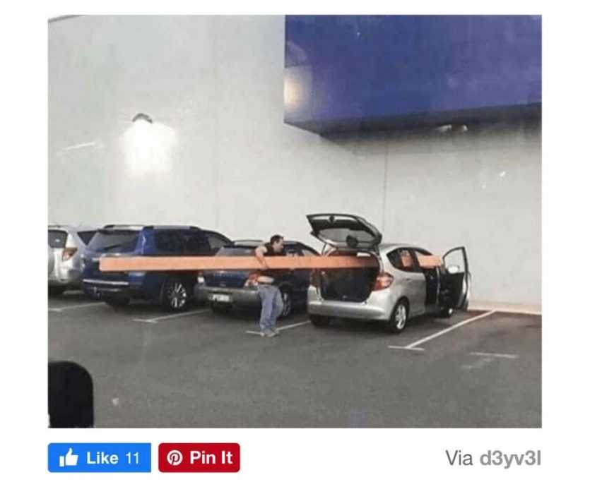 worry for humanity - life fails - man does not know the size of his car