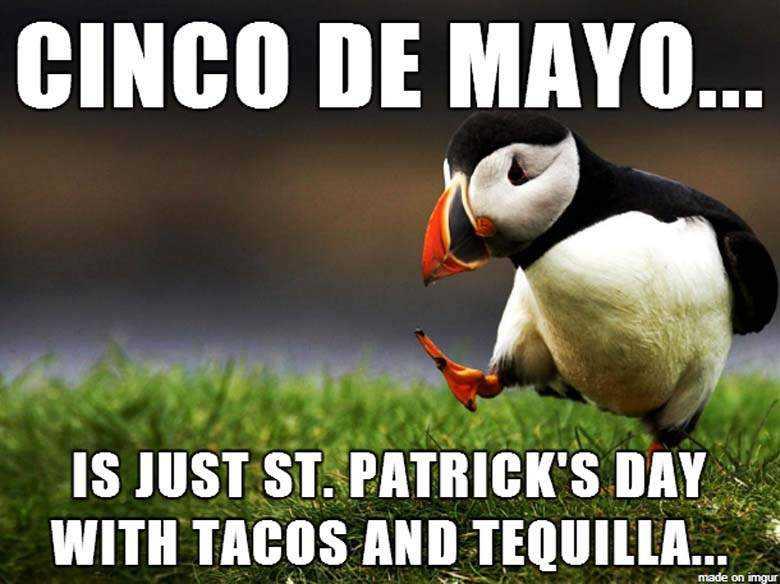 cinco de mayo memes - cinco de mayo meme showing the similarities between cinco de mayo and st. patrick's day