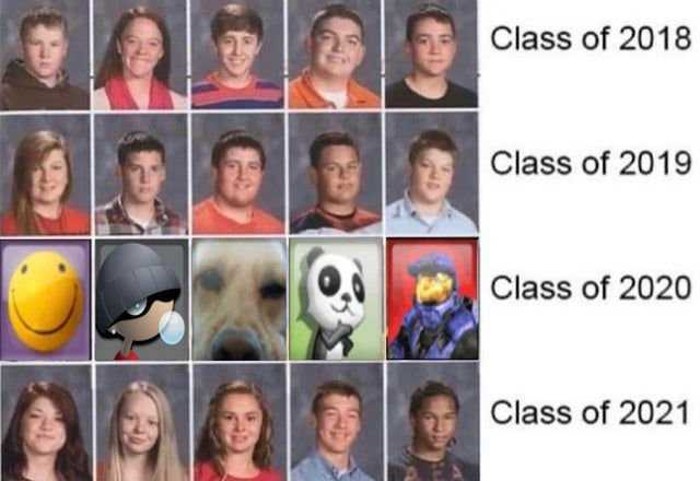 2020 memes - class of 2020 school year book picture