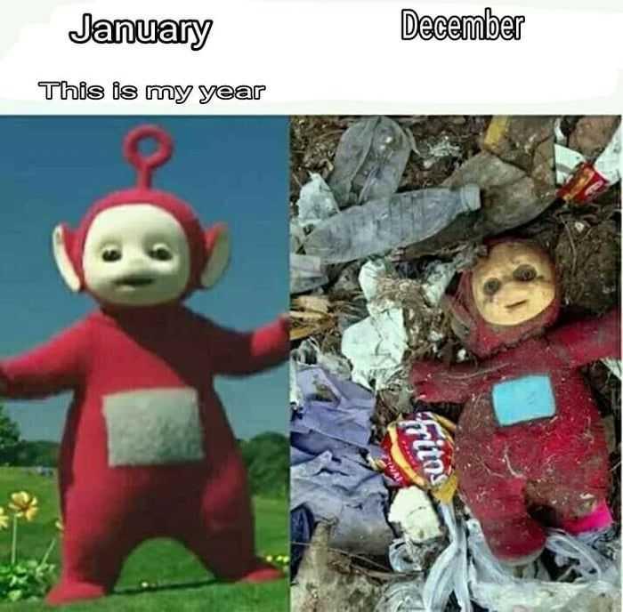 2020 memes - 2020 meme depicting a tellatubbie ending up in the dump