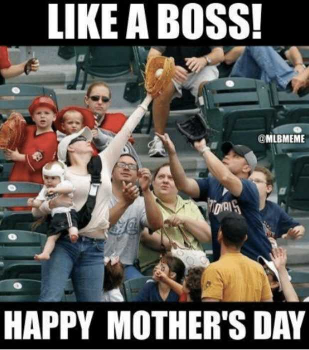 mothers day memes - mom meme about how a mom catches a foul ball at a baseball game