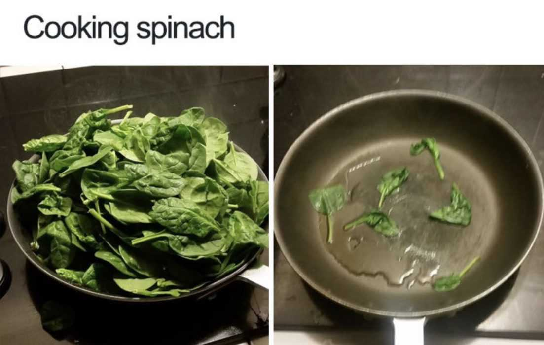 meme featuring a pan of spinach before cooking and after cooking
