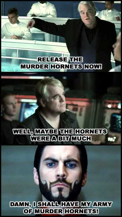 meme featuring a villain pondering if murder hornets were a bit much