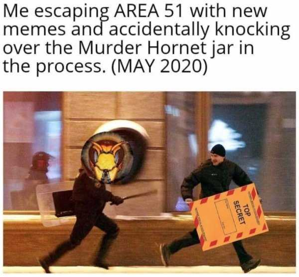 meme featuring someone escaping area 51 with new meme but knocked over a jar of murder hornets