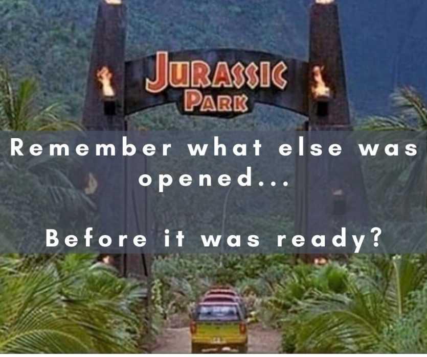 jurassic park America reopening meme