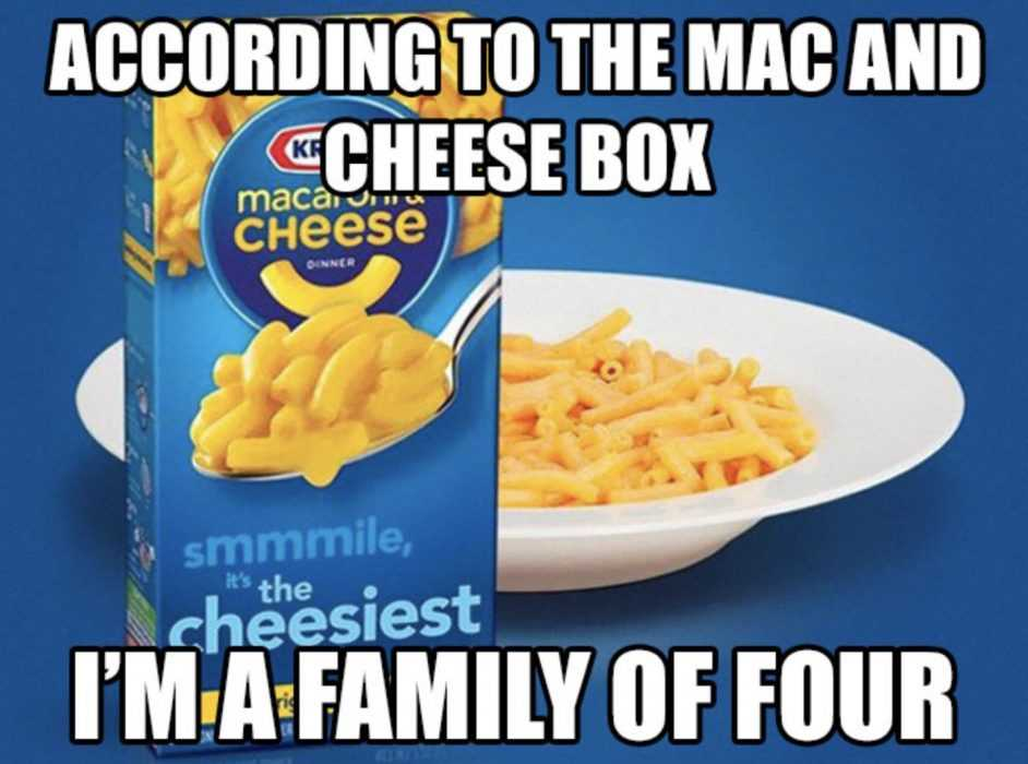meme featuring mac and cheese and a caption according to mac and cheese box i'm a family of four