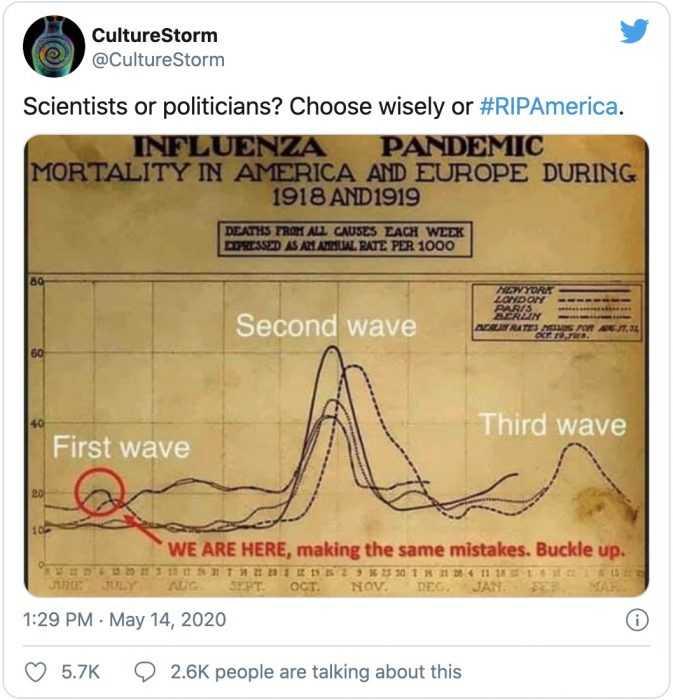 meme comparing spanish flu to current outbreak