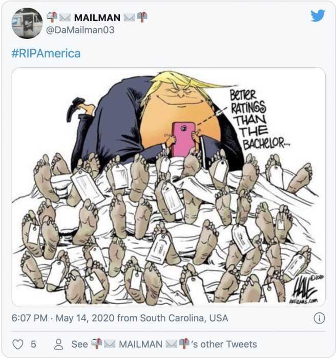 cartoon trump lying on corpses tweeting about ratings