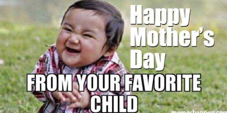 mothers day memes - mom meme about a child looking like he's scheming something while wishing happy mother's day