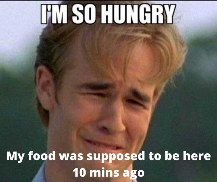 meme of dawson crying cos he's so hungry waiting for late food delivery