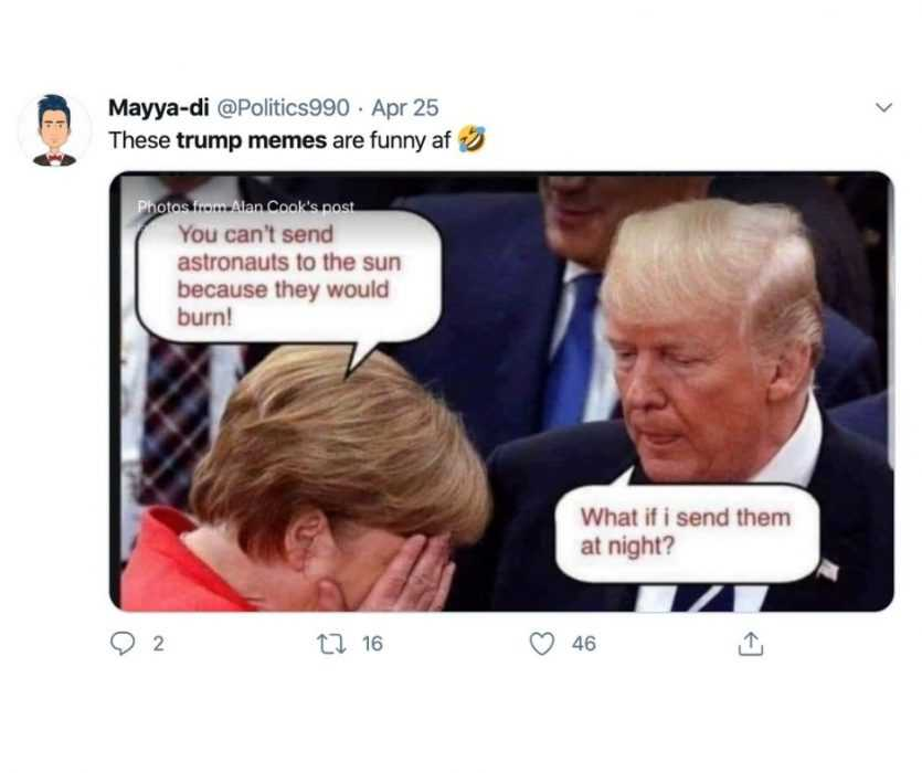 trump memes - trump meme of merkel explaining why we can't send astronauts to the sun