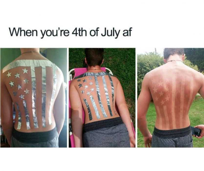 man getting a stars and stripes sun tan captioned with when you're 4th of july af meme