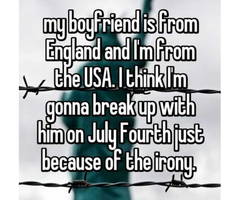 whisper about an american girl wanting to break up with her british boyfriend on 4th of july meme