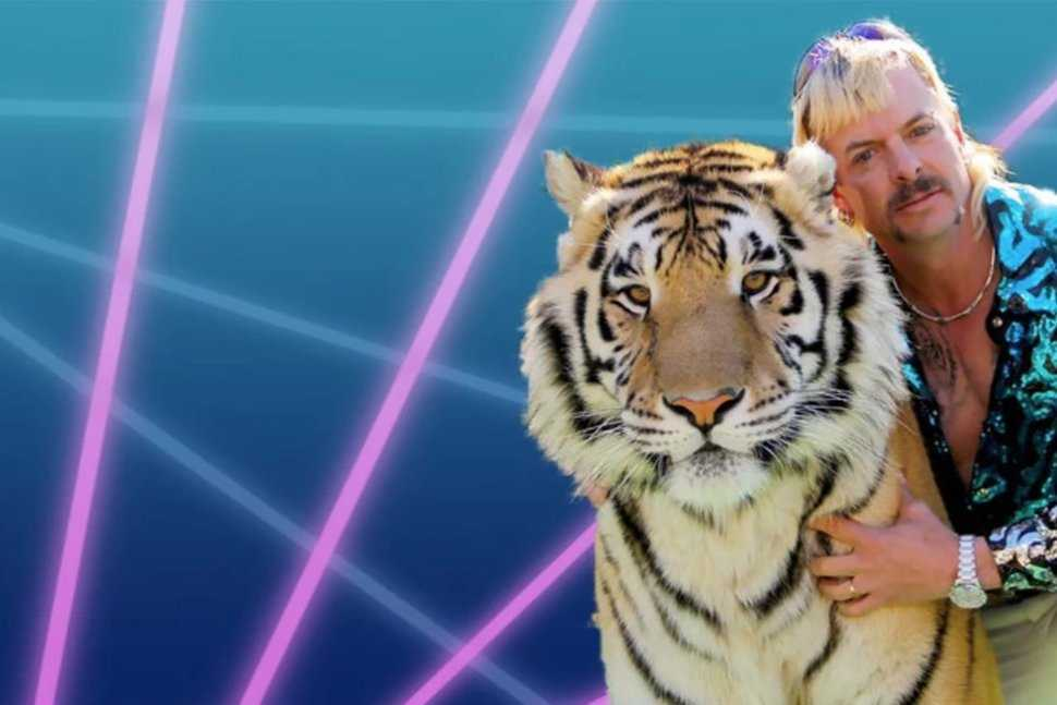 funny zoom background featuring tiger king and tiger