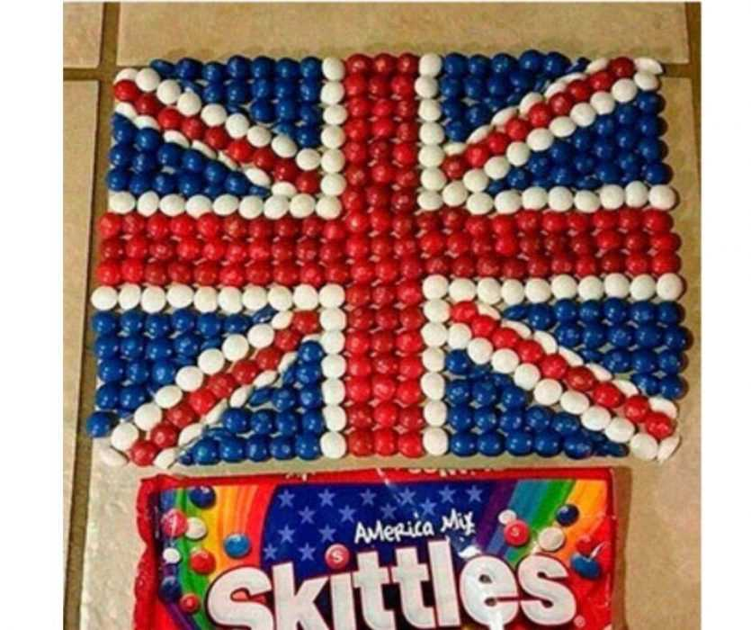 a brit arranging america mix skittles in british flag meme